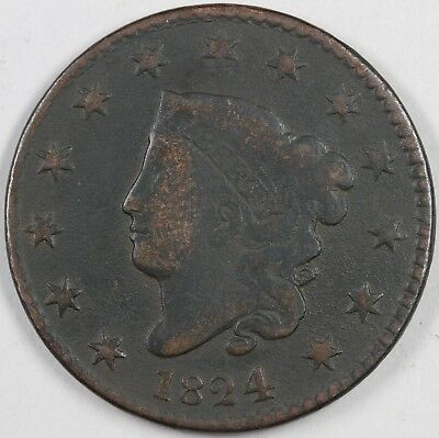 1824 N-2 Matron or Coronet Head Large Cent 1C