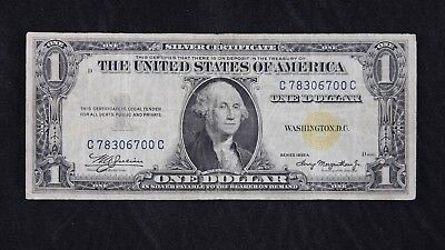 $1 1935A North Africa yellow seal silver cert.C78306700C one dollar FREE SHIP.