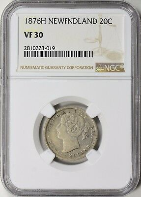 Newfoundland 1876-H Silver 20 Cents NGC VF-30