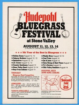 1983 Hudepohl Gold Beer Bluegrass Fest Stone Valley Harrison OH Promo Ad
