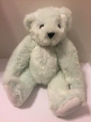 """Vermont Teddy Bear  16""""   Jointed  Light Blue   Made Usa"""