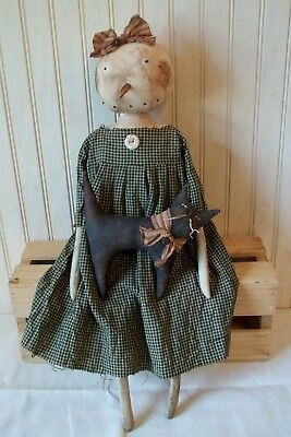 Primitive Grungy Snowlady Snowman Christmas Doll & Her Black Kitty Cat