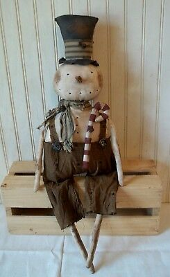 Primitive Grungy Plump Snowman Christmas Doll & His Candy Cane