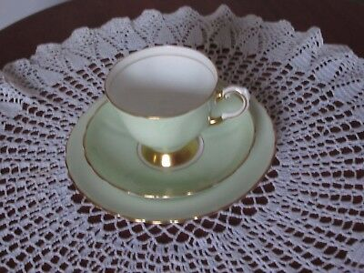 Tuscan 'Fine English Bone China' Pale Green with Gold Edging Trio Set
