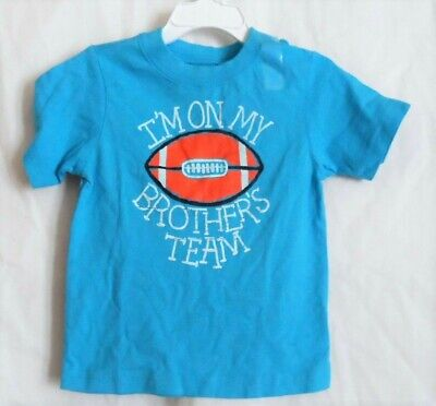 Boys 12-18 Month Blue Football I'm On My Brother's Team Nwt The Children's Place