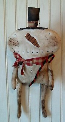 Primitive Grungy Little Snowman Christmas Doll & His Chenille Candy Cane