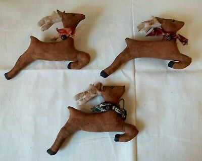 Primitive Grungy Set of 3 Little Reindeer Christmas Doll Bowl Fillers