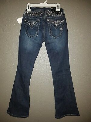 Miss Me Girls Jeans Size 10 Thick Stitch Embellished Pockets & Back Boot Cut