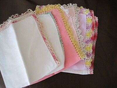Vtg  Pastel Hankies With Tatted Lace Lot 6 Pc