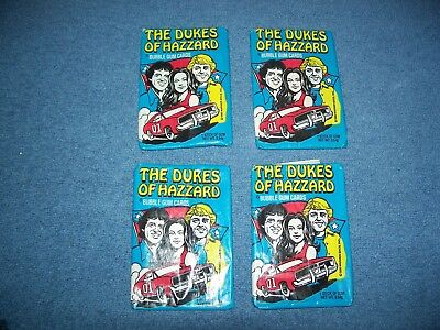 Vintage 1981 The Dukes of Hazzard Set of 4 Wax Packs Trading Cards Donruss