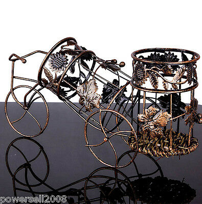 New European Decoration Bicycle Shape Wrought Iron 2 Bottles Wine Rack &$
