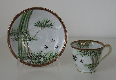 Asian Bamboo Birds Gold Trim Footed Demitasse Cup and Saucer Set  Occupied Japan