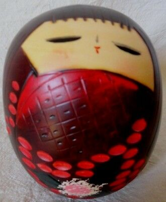 Hand painted Japanese Kokeshi DOLL HEAD wooden Face Round Asian Cultural
