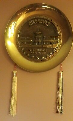 "EUC Vintage Korean Pan Mun Jom ""Freedom House"" Cast Brass Ceremonial Wall Plate"