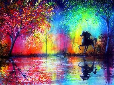 Horse in the Rainbow painting ,High quality Canvas print Unframed