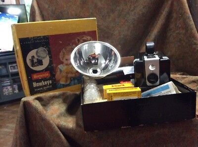 Vintage Brownie Hawkeye Flash Outfit Camera With Box 2 Rolls Expired Film