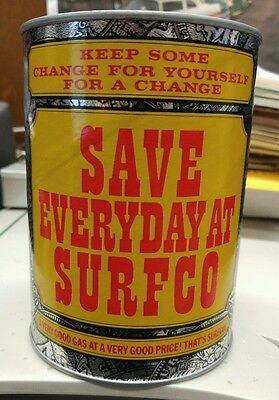 vintage 1960s Surfco gasoline oil can coin bank
