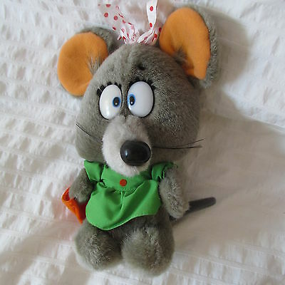 1980 Applause Squeeks Plush Doll Gray Mouse Rat