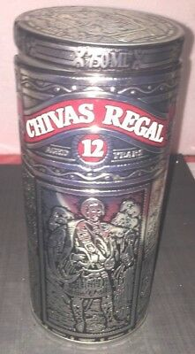Chivas Regal 12 Year Scotch Whisky Collectible Silver Metal Tin Empty
