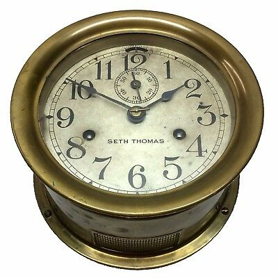 Antique Seth Thomas Ships Clock with Ships Bells, As Is