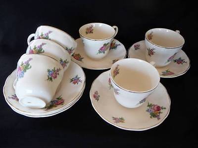 Grindley England 12Pce Cream Petal Floral 6 Cups & Saucers Shabby Pink Roses