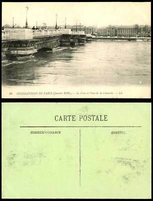 PARIS FLOOD 1910 Old Postcard Pont et Place de la Concorde Bridge Flooding LL 88
