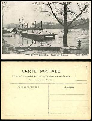 PARIS FLOOD Jan. 1910 Old Postcard Port Saint-Nicolas Bridge Collection Taride