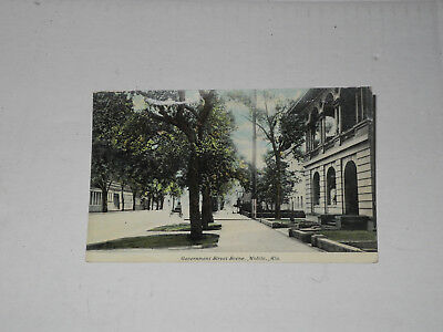 "Vintage color Postcard, unused ""Government Street, Mobile AL"" Free Shipping"