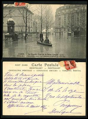 PARIS FLOOD 1910 Old Postcard Soldiers 1st Engineering rescue Auteuil Inhabitant