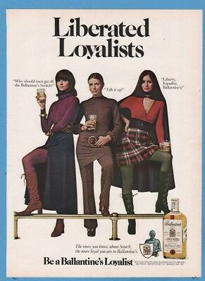 1971 Ballantine Scotch Whisky Liberated Loyalists 1970's Feminist photo ad