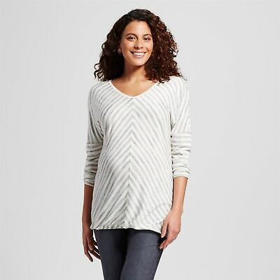 LIZ LANGE Maternity 3/4 Sleeve T-Shirt  XS/XL/XXL White w/Gray Stripe **NWT**