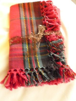 "TABLECLOTH Red & Green Holiday Plaid w gold thread & fringe approx  52"" X 50"""