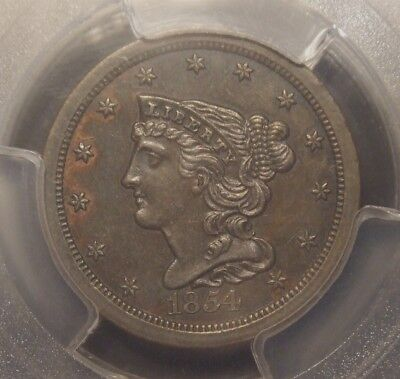 1854 Braided Hair Half Cent, Pcgs Graded Au58