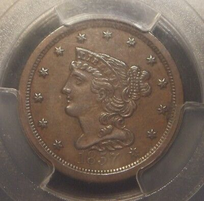 1857 Braided Hair Half Cent, Pcgs Graded Au53