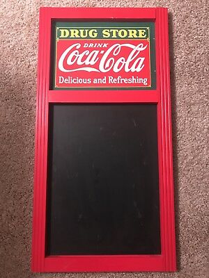 DRUG STORE Tin Coca Cola Sign Chalkboard Raised Letters 14x28