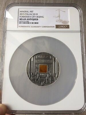 2015 Mineral Art Amber Forbidden City BeiJing Silver Coin 2oz NGC MS69 Antique