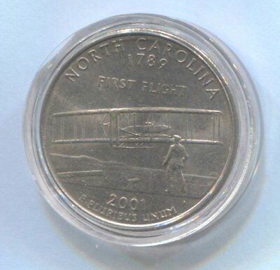 2001 US State Quarter Coin Enclosed in Plastic Case - NORTH CAROLINA  #Q72