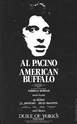 "Al Pacino ""AMERICAN BUFFALO"" David Mamet / Arvin Brown 1984 London Opening Flyer"