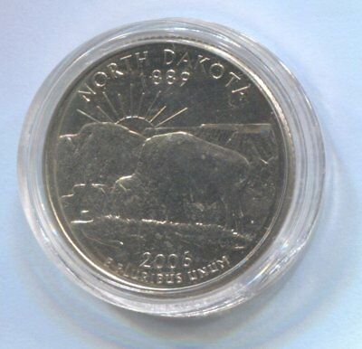 2006 US State Quarter Coin Enclosed in Plastic Case - NORTH DAKOTA   #Q86