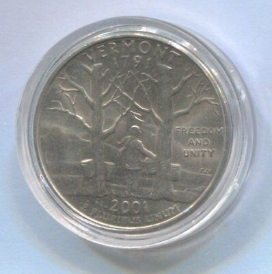 2001 US State Quarter Coin Enclosed in Plastic Case - VERMONT   #Q89