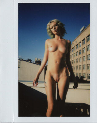 OOAK Original Instax Wide Polaroid Photo - Nude Naked Woman Blonde Outdoor Urban