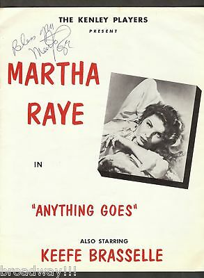 "Martha Raye (Signed) ""ANYTHING GOES"" Cole Porter 1958"