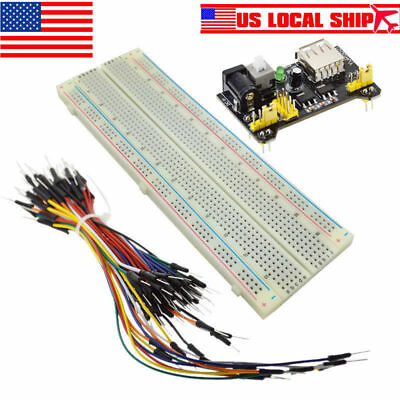 US MB-102 Power Supply Module Solderless Breadboard 830 Point 65PCS Jumper Cable