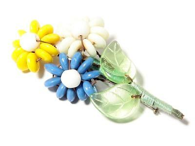 Vtg Czech hand wired Art Glass rondelle beaded Flower bouquet leaf pin brooch