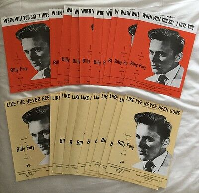 BILLY FURY.  20 pieces of Sheet Music.