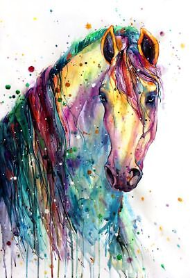 watercolor horse canvas painting home decor wall art high quality choose size