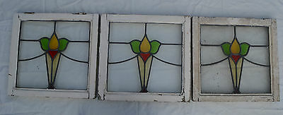 3 British leaded light stained glass windows. R370a. WORLDWIDE DELIVERY!!!