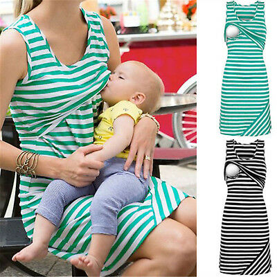Women Summer Green Maternity Breastfeeding and Nursing longuette Tops Dress MN