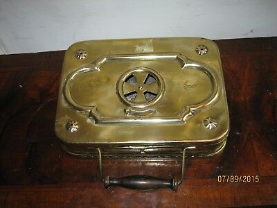 antique brass carriage foot warmer French