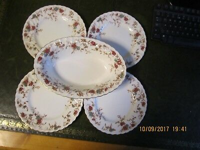 "Minton Ancestral  Oval Vegetable Dish & 4 x 20 Cm / 8"" Plates"